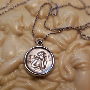 Vtg. Sterling cherub pendant with chain